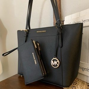 New MK large Ciara tote & double zipper wallet 🖤